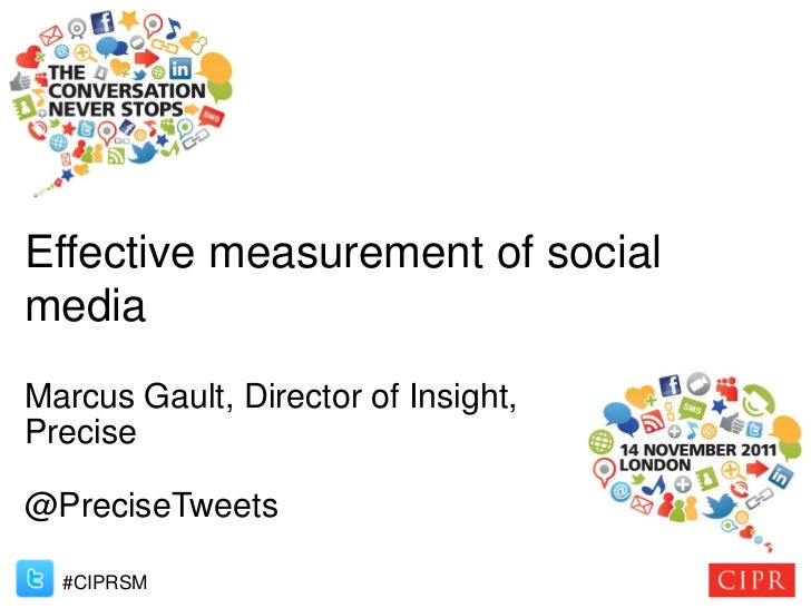Effective measurement of socialmediaMarcus Gault, Director of Insight,Precise@PreciseTweets  #CIPRSM