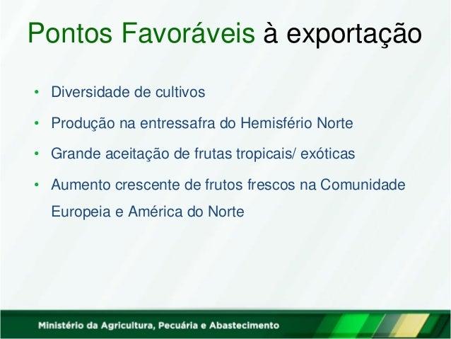 Pontos Favoráveis à exportação • Diversidade de cultivos • Produção na entressafra do Hemisfério Norte • Grande aceitação ...