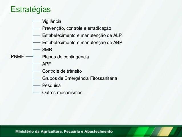 Vigilância Prevenção, controle e erradicação Estabelecimento e manutenção de ALP Estabelecimento e manutenção de ABP SMR P...
