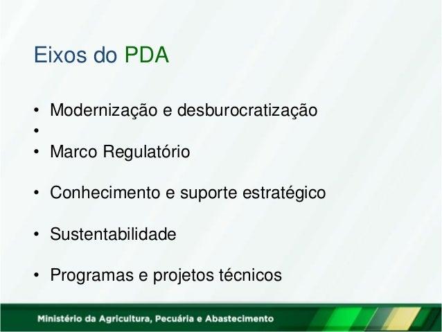 Eixos do PDA • Modernização e desburocratização • • Marco Regulatório • Conhecimento e suporte estratégico • Sustentabilid...