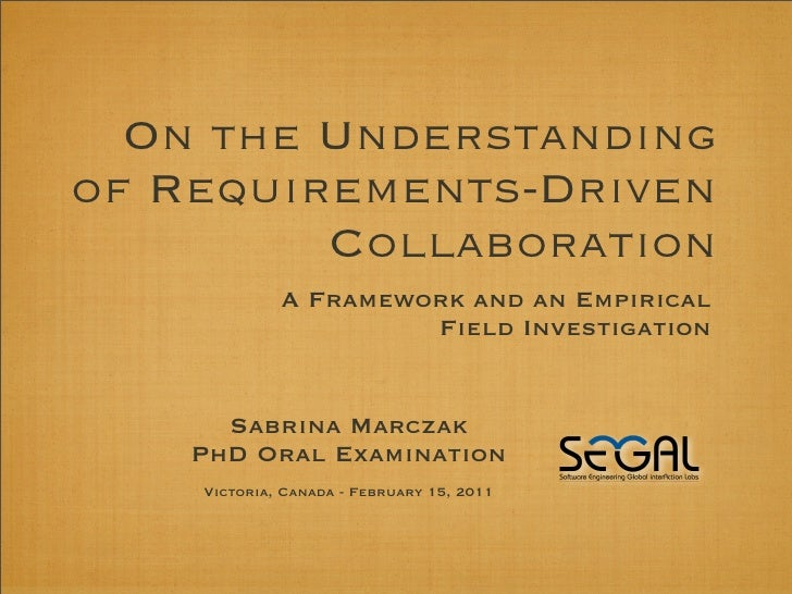 On the Understandingof Requirements-Driven         Collaboration             A Framework and an Empirical                 ...