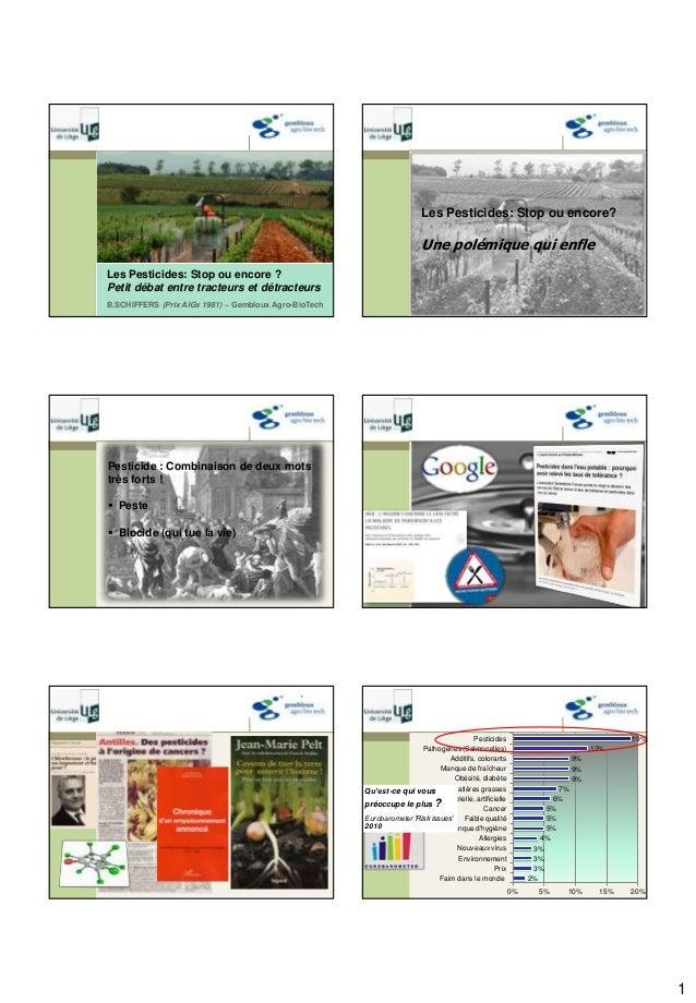 1 B.SCHIFFERS (Prix AIGx 1981) – Gembloux Agro-BioTech Les Pesticides: Stop ou encore ? Petit débat entre tracteurs et dét...