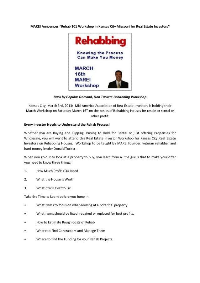"MAREI Announces ""Rehab 101 Workshop in Kansas City Missouri for Real Estate Investors""                    Back by Popular ..."