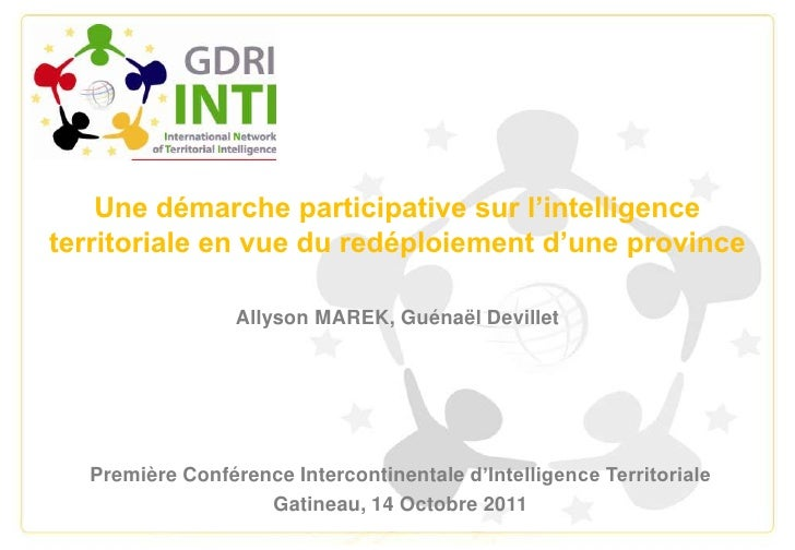 Une démarche participative sur l'intelligence territoriale en vue du redéploiement d'une province<br />Allyson MAREK, Guén...