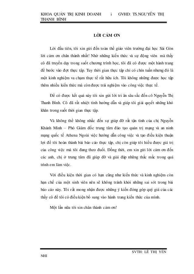 KHOA QUẢN TRỊ KINH DOANH i GVHD: TS.NGUYỄN THỊ THANH BÌNH SVTH: LÊ THỊ YẾN NHI LỜI CẢM ƠN Lời đầu tiên, tôi xin gửi đến to...