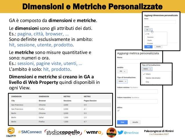 Palacongressi di Rimini 1 e 2 Dicembre 2017@merlinox Dimensioni e Metriche Personalizzate GA è composto da dimensioni e me...