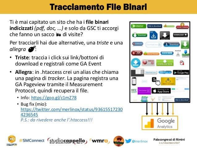 Palacongressi di Rimini 1 e 2 Dicembre 2017@merlinox Tracciamento File Binari Ti è mai capitato un sito che ha i file bina...