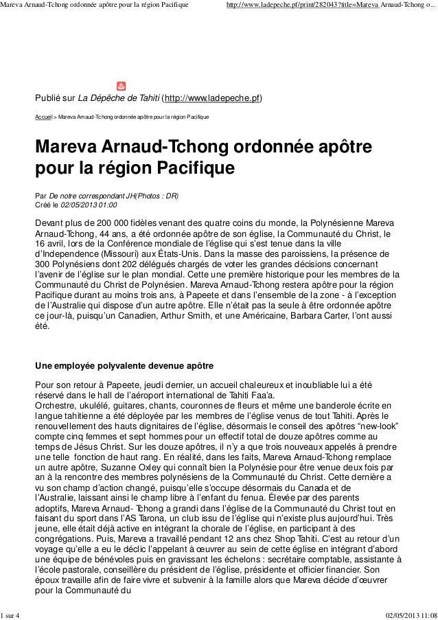 Publié sur La Dépêche de Tahiti (http://www.ladepeche.pf)Accueil > Mareva Arnaud-Tchong ordonnée apôtre pour la région Pac...