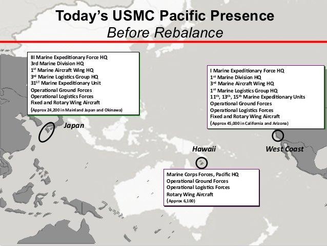 Today's USMC Pacific Presence   Before Rebalance Japan   Hawaii   West  Coast   III  Marine  Expedi-onary  ...