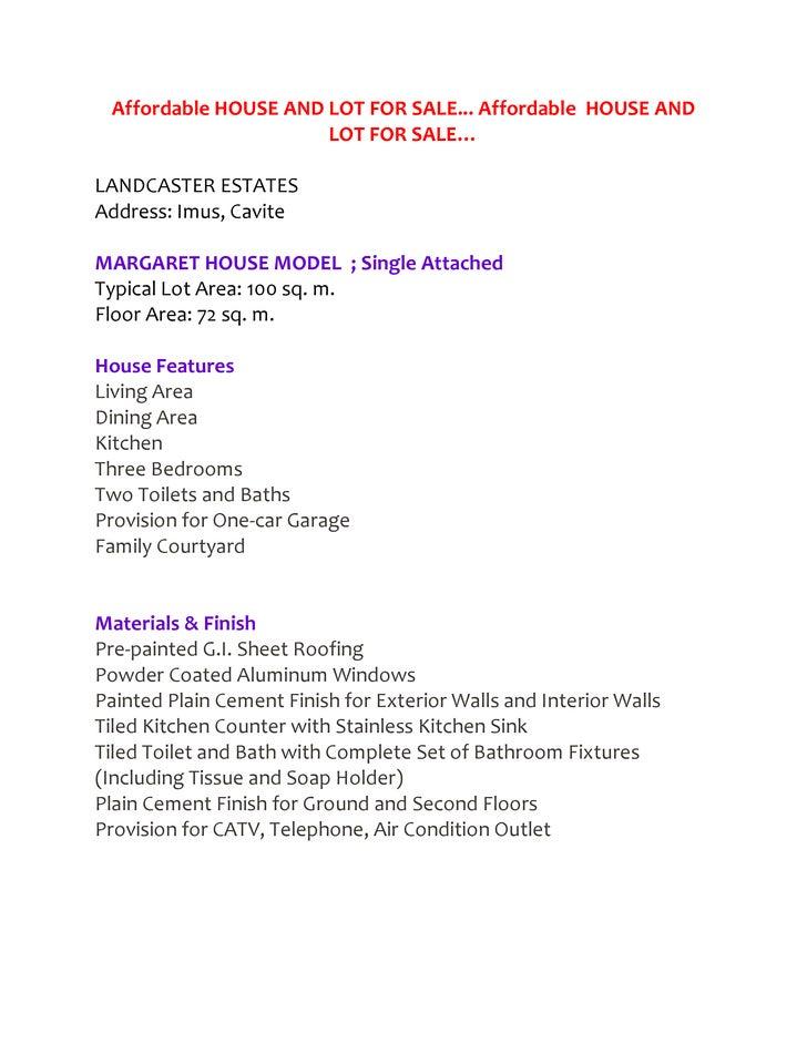 Affordable HOUSE AND LOT FOR SALE... Affordable HOUSE AND                      LOT FOR SALE…LANDCASTER ESTATESAddress: Imu...