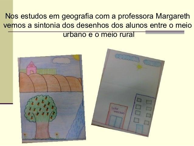 Nos estudos em geografia com a professora Margarethvemos a sintonia dos desenhos dos alunos entre o meio                 u...