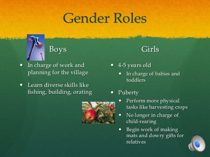 Gender Roles           Boys                            Girls In charge of work and         4-5 years old  planning for t...