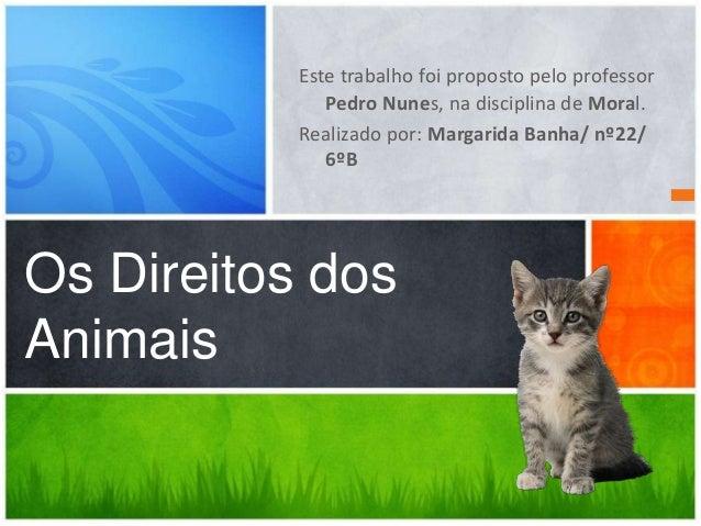 Este trabalho foi proposto pelo professor Pedro Nunes, na disciplina de Moral. Realizado por: Margarida Banha/ nº22/ 6ºB  ...