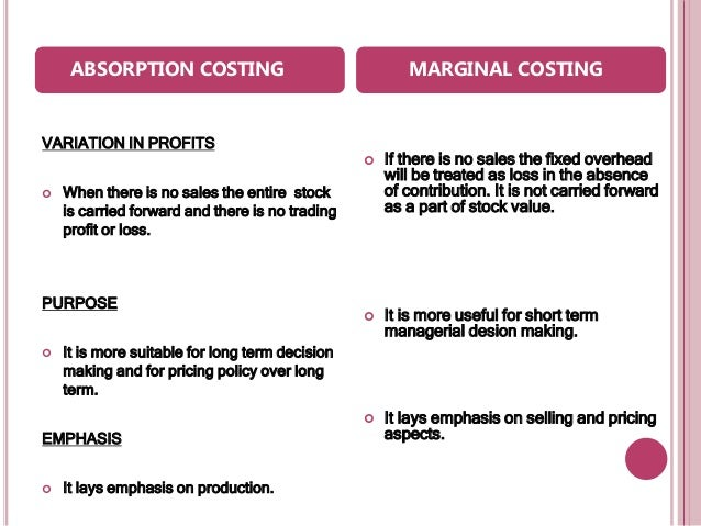 marginal and absorption cost Absorption vs variable costing  direct costing is also called variable costing or marginal costing  absorption cost accounting.