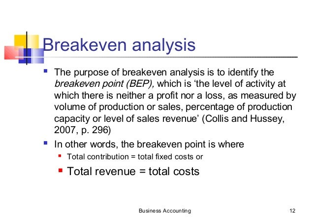 Marginal Costing  Breakeven Analysis
