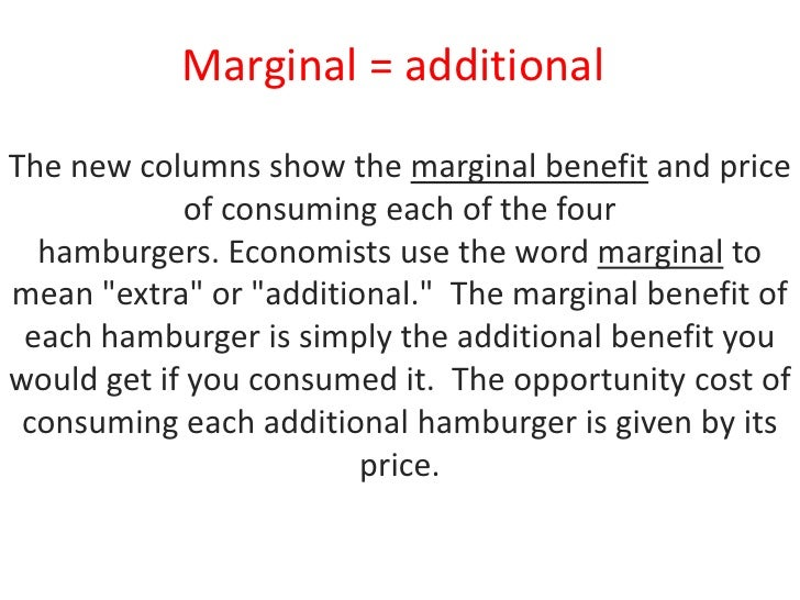 marginalism benefits and costs Struggling to understand the influence of labor costs upon  consider that a  party to this exchange would find it to their advantage to sell the commodity the.