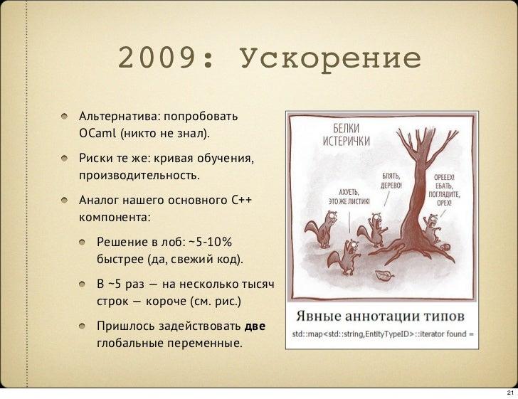 2009: Ускорение Альтернатива: попробовать OCaml (никто не знал). Риски те же: кривая обучения, производительность. Аналог ...