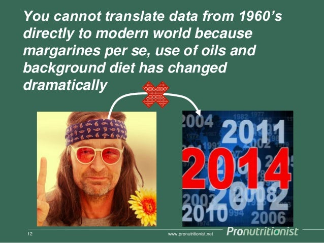 You cannot translate data from 1960's directly to modern world because margarines per se, use of oils and background diet ...