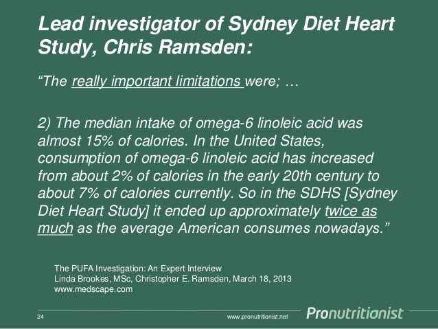 """Lead investigator of Sydney Diet Heart Study, Chris Ramsden: """"The really important limitations were; … 2) The median intak..."""