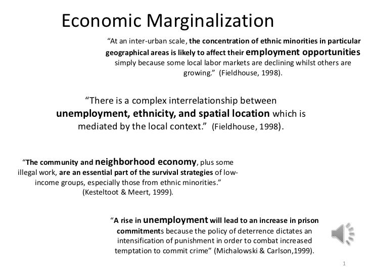 """Economic Marginalization<br />1<br /> """"At an inter-urban scale, the concentration of ethnic minorities in particular geogr..."""