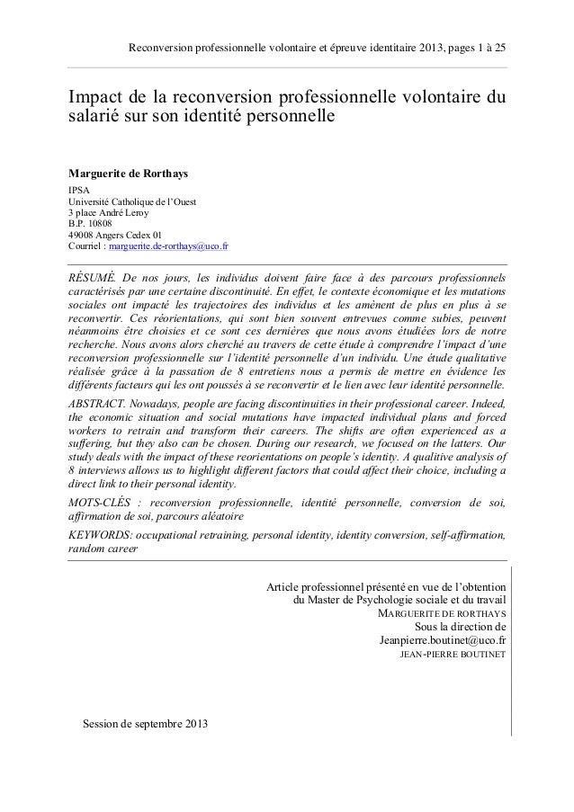 Reconversion professionnelle volontaire et épreuve identitaire 2013, pages 1 à 25  Impact de la reconversion professionnel...