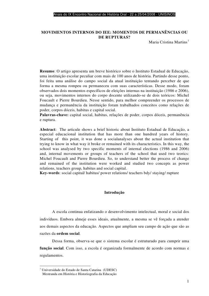 Anais do IX Encontro Nacional de História Oral - 22 a 25/04/2008 - UNISINOS         MOVIMENTOS INTERNOS DO IEE: MOMENTOS D...