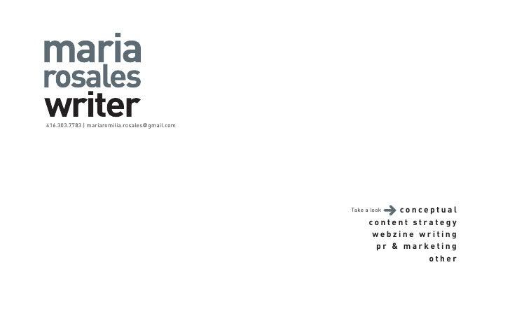 416.303.7783 | mariaromilia.rosales@gmail.com                                                                 conceptual  ...