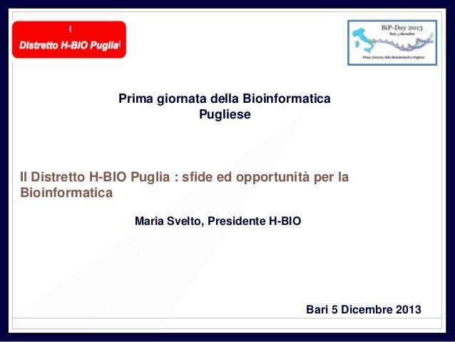 Prima giornata della Bioinformatica Pugliese  Il Distretto H-BIO Puglia : sfide ed opportunità per la Bioinformatica Maria...