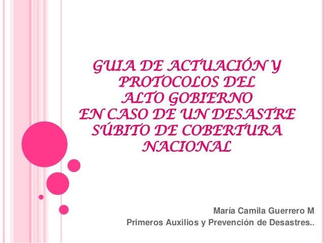 GUIA DE ACTUACIÓN Y    PROTOCOLOS DEL    ALTO GOBIERNOEN CASO DE UN DESASTRE SÚBITO DE COBERTURA      NACIONAL            ...