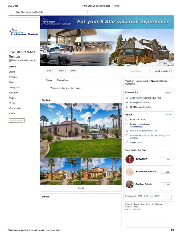 3/30/2018 Five Star Vacation Rentals - Home https://www.facebook.com/Fivestarvacationrental 1/4 Five Star Vacation Rentals...