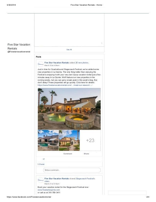 3/30/2018 Five Star Vacation Rentals - Home https://www.facebook.com/Fivestarvacationrental 2/4 Five Star Vacation Rentals...