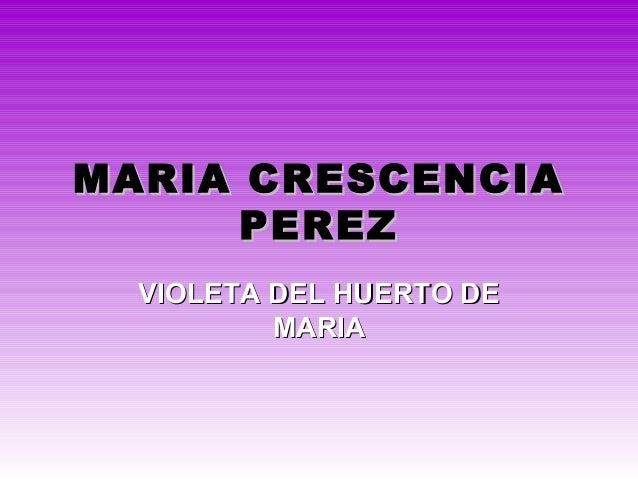 MARIA CRESCENCIAMARIA CRESCENCIA PEREZPEREZ VIOLETA DEL HUERTO DEVIOLETA DEL HUERTO DE MARIAMARIA
