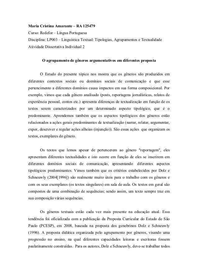 Maria Cristina Amarante – RA 125479Curso: Redefor – Língua PortuguesaDisciplina: LP003 – Linguística Textual: Tipologias, ...