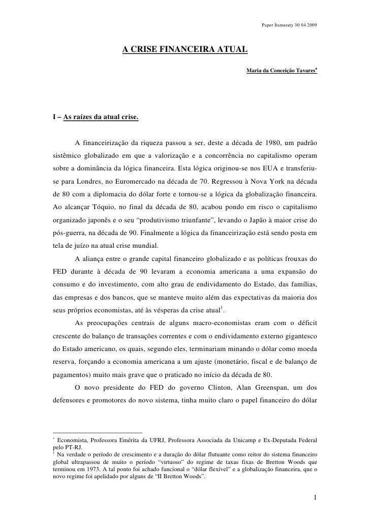 Paper Itamaraty 30 04 2009                                A CRISE FINANCEIRA ATUAL                                        ...