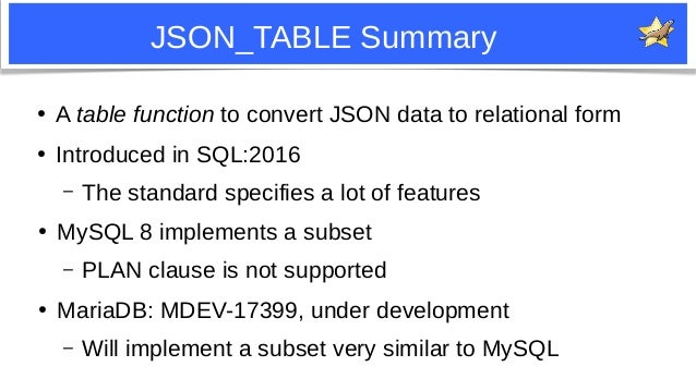 29 JSON_TABLE Summary ● A table function to convert JSON data to relational form ● Introduced in SQL:2016 – The standard s...