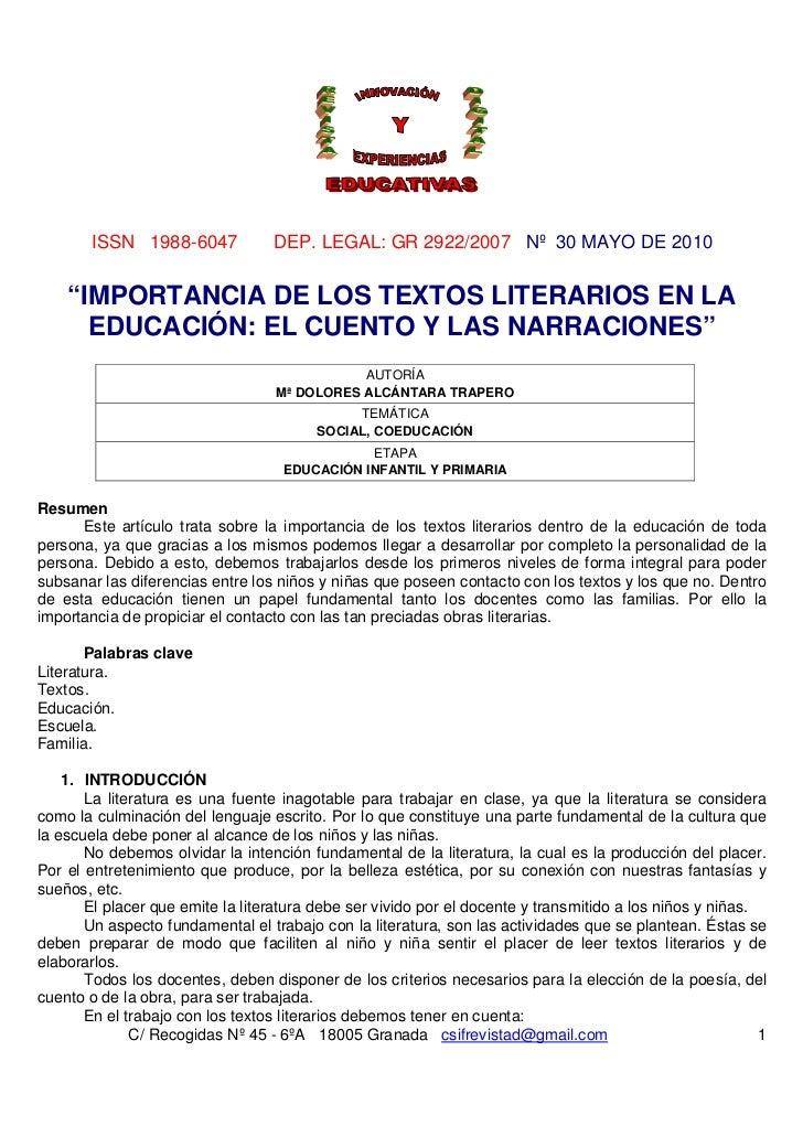 """ISSN 1988-6047            DEP. LEGAL: GR 2922/2007 Nº 30 MAYO DE 2010    """"IMPORTANCIA DE LOS TEXTOS LITERARIOS EN LA      ..."""