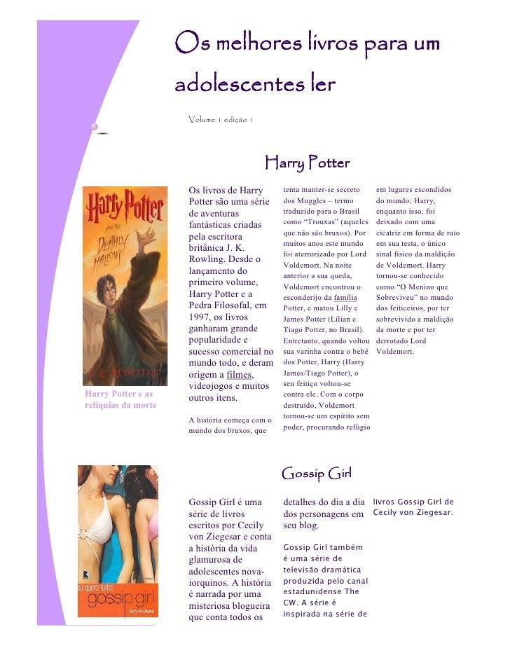 Os melhores livros para um                     adolescentes ler                      Volume 1 edição 1                    ...