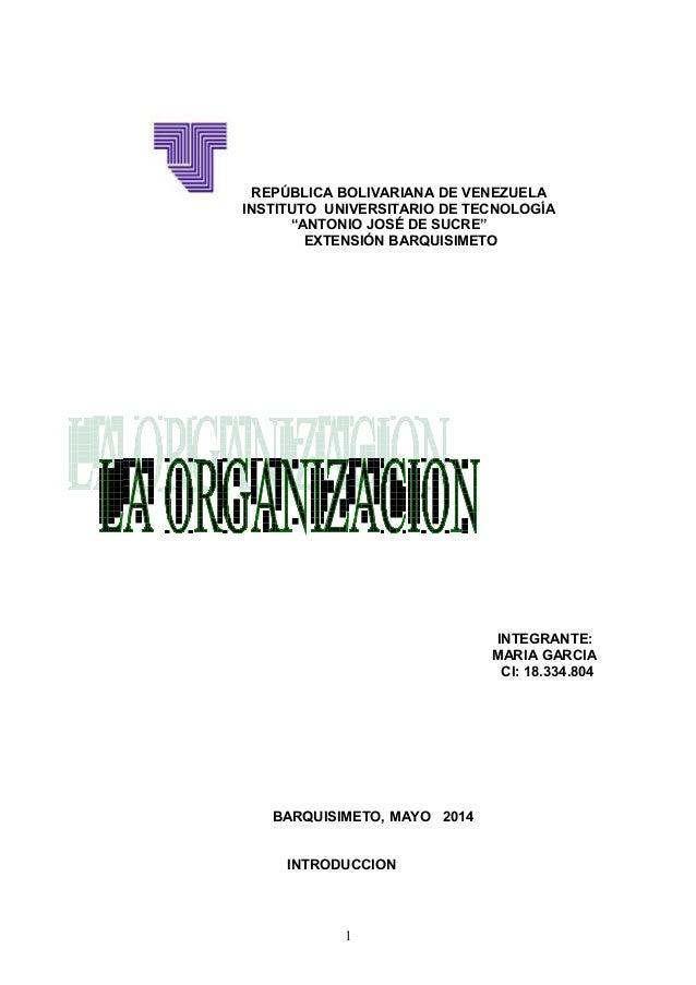 """REPÚBLICA BOLIVARIANA DE VENEZUELA INSTITUTO UNIVERSITARIO DE TECNOLOGÍA """"ANTONIO JOSÉ DE SUCRE"""" EXTENSIÓN BARQUISIMETO IN..."""