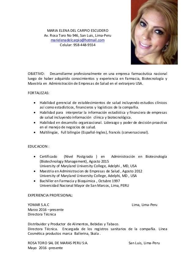 Curriculum Vitae 2016 Espanol