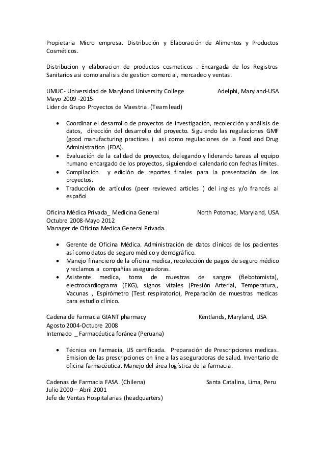 Curriculum Vitae, 2016, español