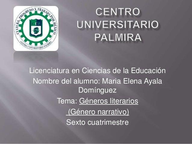 Licenciatura en Ciencias de la Educación  Nombre del alumno: Maria Elena Ayala  Domínguez  Tema: Géneros literarios  (Géne...