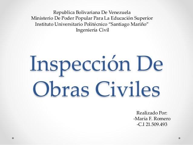 Inspección De Obras Civiles Republica Bolivariana De Venezuela Ministerio De Poder Popular Para La Educación Superior Inst...