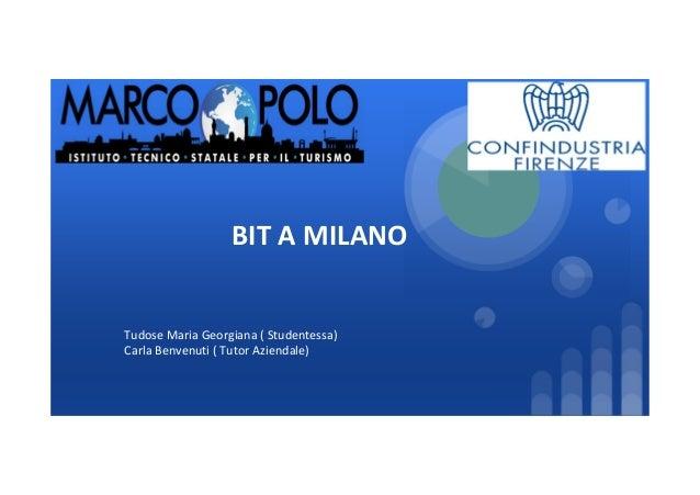 BIT A MILANO Tudose Maria Georgiana ( Studentessa) Carla Benvenuti ( Tutor Aziendale)