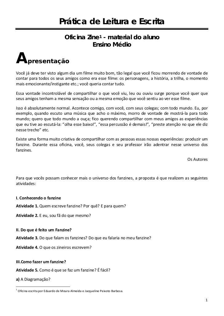 Prática de Leitura e Escrita                                     Oficina Zine 1 - material do aluno                       ...