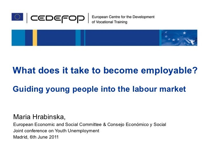 What does it take to become employable? Guiding young people into the labour market Maria Hrabinska,  European Economic an...