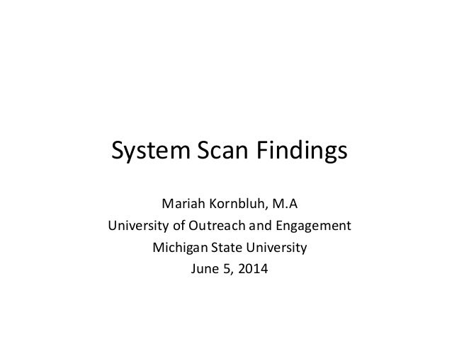 System Scan Findings Mariah Kornbluh, M.A University of Outreach and Engagement Michigan State University June 5, 2014