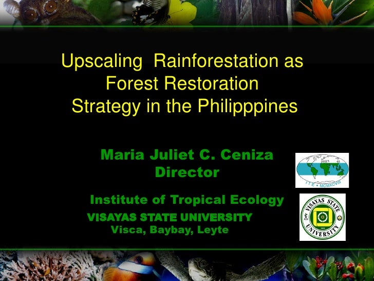 Upscaling Rainforestation as      Forest Restoration  Strategy in the Philipppines      Maria Juliet C. Ceniza            ...