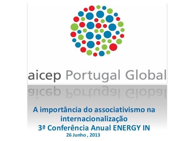 A importância do associativismo na internacionalização 3ª Conferência Anual ENERGY IN 26 Junho , 2013