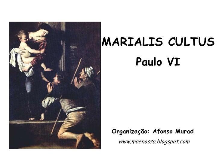 MARIALIS CULTUS         Paulo VI Organização: Afonso Murad   www.maenossa.blogspot.com