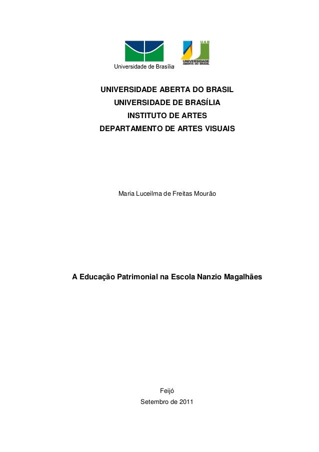 UNIVERSIDADE ABERTA DO BRASIL          UNIVERSIDADE DE BRASÍLIA              INSTITUTO DE ARTES       DEPARTAMENTO DE ARTE...